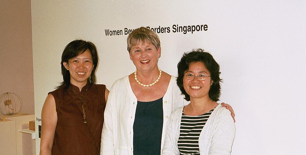 Curator Joyce Fan, Lorraine Serena, and Curator Suzi Wong