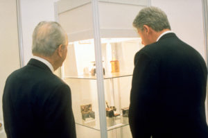 Former President Bill Clinton and Former Israeli President Shimon Peres at the Exhibition in Israel
