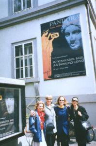 Ellen Wessinhage, Lorraine Serena, Sania Pappa, WBB Greece Curator, Vana Xenou (WBB Artist) at Opening of WBB Basel.
