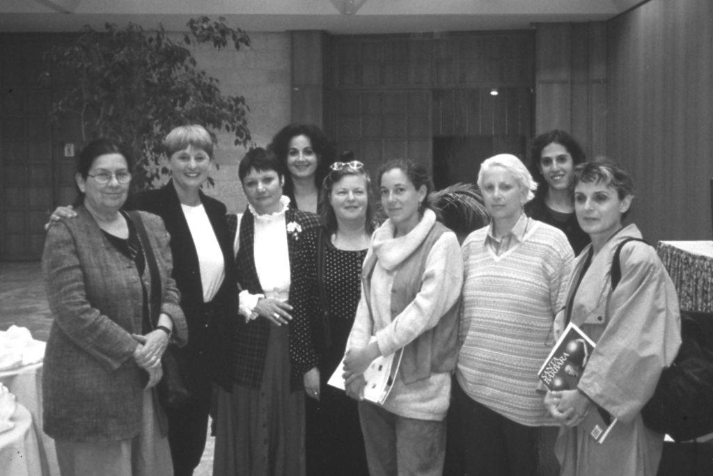 Reviva Regev, Lorraine Serena, Daphna Naor, Edna Ramot, Curator ICC Gallery, Gaby Salzberger, Dorit Feldman, Deganit Schocken, ICC Gallery assistant - artists and organizers of WBB Israel